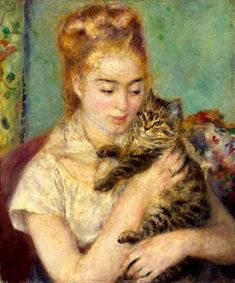 Learn more about Woman with a Cat by Pierre-Auguste Renoir or buy fine art prints from our extensive gallery. Pierre Auguste Renoir, Pierre Bonnard, National Gallery Of Art, Wassily Kandinsky, Oil Painting Gallery, Art Gallery, Pablo Picasso, Van Gogh, August Renoir