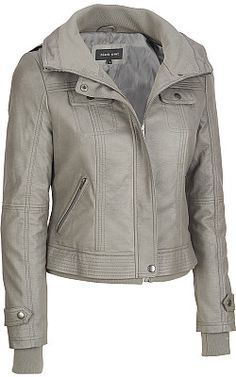 Black Rivet Faux-Leather Hood-In-Collar Bomber Jacket -#WilsonsLeather #Leather