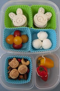 School lunch in our Easy Lunch Box - I think those are cream cheese balls... very clever