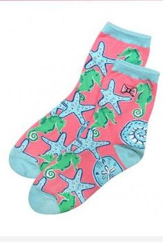 Simply Southern Bow Socks - Blue/ Pink