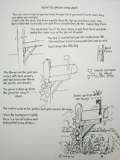 How to Draw Worksheets for Young Artist: How to Draw a Mailbox Easy Worksheet Drawing Lessons, Drawing Techniques, Drawing Tips, Drawing Sketches, Art Lessons, Painting & Drawing, Sketching, Doodle Drawings, Easy Drawings