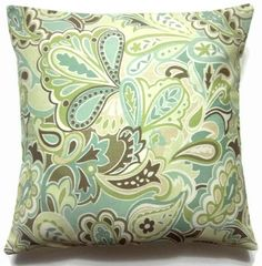 Two Green White Brown Blue Paisley Pillow Covers Decorative Toss Accent Throw Pillow Covers 18 inch Print Fabric Both Sides