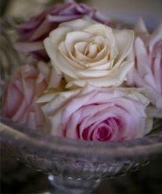 Rose heads in a vintage crystal bowl