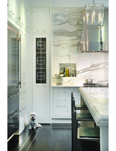 To the ceiling marble + walnut floors + stainless steel