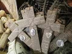 I love these cross ornaments! Petite Michelle Louise: Nesting On Main.@ St Joseph for Thanksgiving or Advent in the vestibile? Bible Crafts, Book Crafts, Paper Crafts, Easter Crafts For Adults, Crafts For Kids, Easter Ideas, Christian Crafts, Christian Easter, Cross Art