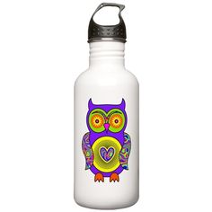 Purple Psychedelic Owl Sports Water Bottle on CafePress.com