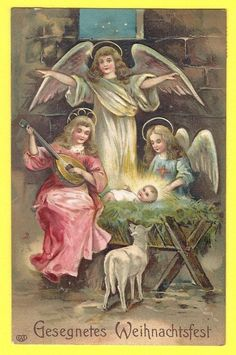 Old German Postcard PC w/ Nativity Scene 3  Angels   Musical Instrument
