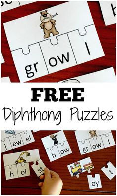 FREE Dipthong Puzzles are a fun way for kids to learn about when two vowel sounds join in one syllable. Great activity for kindergarten, first grade, and grade kids. Spelling Activities, Reading Activities, Kindergarten Activities, Teaching Reading, Fun Learning, Learning Spanish, Kindergarten Goals, Pirate Activities, Children Activities