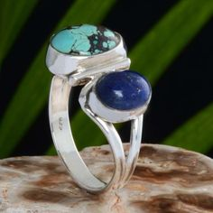 925 SOLID STERLING SILVER FANCY TURQUOISE RING 5.17g DJR10614 SZ-8.5 #Handmade #Ring