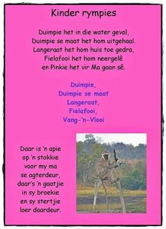 Duimpie het in die water geval Rhymes Songs, Kids Poems, Afrikaans Quotes, Singing Career, Future Jobs, Singing Lessons, School Posters, Early Education, Child Development