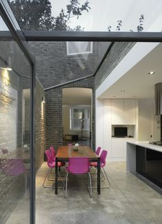 Inside outside enclosed kitchen extension. Polished concrete floors!