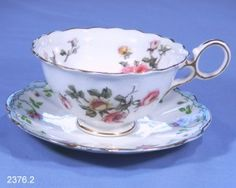 Crescent China Antique Vintage Bone China Tea Cup Pattern B / Allertons Moss Rose Border Saucer