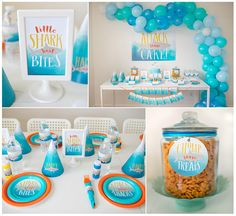 Printables by ARTICLE PRINT on ETSY: Shark Summer Pool Party Boys Blue & Orange Ombre Shark Party Lets Attack some cake shark attack etsy printables customized shark invite printable invitations and matching party decor. By Article Print on Etsy Shark party signs, shark plates, shark party cups, shark party decor, shark party ideas. Balloon garland balloon arch