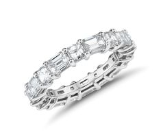 The Gallery Collection™ Emerald-Cut and Asscher-Cut Diamond Eternity Ring in Platinum (4 ct. tw.)   Blue Nile Emerald Cut Wedding Band, Emerald Cut Rings, Emerald Cut Diamonds, Blue Rings, Diamond Wedding Bands, Asscher Cut Diamond Ring, Eternity Ring Diamond, Diamond Bands, Diamond Cuts
