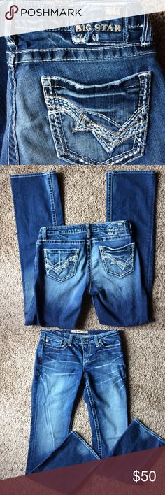 """Big Star Jeans Kayla 28L Bootcut Great used jeans. Very good condition. Mid-rise boot, Kayla style. Front rise measures 8"""". Inseam is 32 1/2"""".  98% cotton, 2% spandex. Big Star Jeans Boot Cut"""