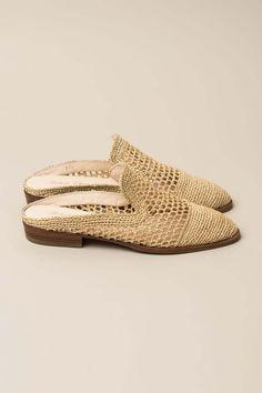 """Wicker close toe slide. Crochet wicker upper. Pointed toe silhouette. Low square heel. Genuine leather outsole. Slip-one style. - Heel height: 1"""" - Made in Morocco - True to size"""