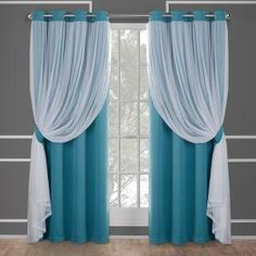 Exclusive Home Curtains Catarina Layered Solid Blackout and Sheer Window Curtain Panel Pair with Grommet Top, Turquoise, 2 Piece No Sew Curtains, Home Curtains, Curtains Living, Modern Curtains, Blackout Curtains, Panel Curtains, Curtain Panels, Curtains With Sheers
