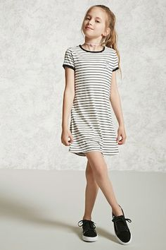 Forever 21 Girls - A knit ringer T-shirt dress featuring an allover stripe print, a round neckline, a cat chest patch, contrast trim, and short sleeves.