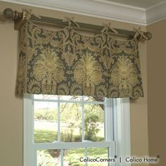 Scalloped Tie Top Valance - Tab Top and Tie Top Valance - Valances and Swags - Windows - Calico Corners Valance Window Treatments, Kitchen Window Treatments, Custom Window Treatments, Window Coverings, Kitchen Window Valances, Kitchen Windows, Rideaux Design, Window Toppers, Drapes Curtains