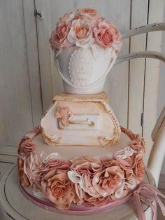 shabby chic  Cake by oriettabasso pretty orange, huh @Becky Rainforth