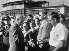 Pres. Dwight D. Eisenhower Greeting Crowds During Speaking Tour