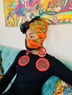 You will receive 1 mask and a matching head wrap as pictured The mask is made with two to three layers of breathable cotton fabrics and will not make you claustrophobic.The Comfortable head wrap scarf, made with African print cotton fa. African Clothing Stores, African Print Clothing, African Print Dresses, At Home Face Mask, Diy Face Mask, Face Masks, African Head Wraps, Head Wrap Scarf, Head Scarfs