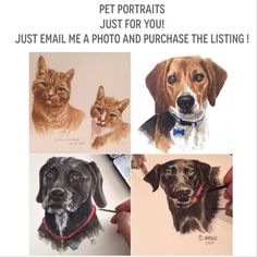 Let me create a PET PORTRAIT for you! Send me a photo of your pet, and Ill create YOUR very own Pet portrait. Created by hand either Original Artwork, Original Paintings, Crafts With Pictures, Teaching Tips, Pet Stuff, Diy Projects To Try, Dog Art, Pet Portraits, Painting & Drawing