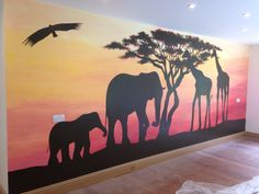 South African Sunset Jungle Mural More