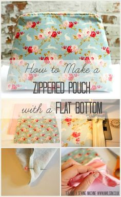 How to make a lined, zippered pouch with a flat bottom. They're easy to make and they make great gifts!. This step by step tutorial shows how to make a zippered pouch, including how to make the template. There is a free template you can download if you don't want to make your own.