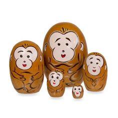 Monkey Wood Nesting Dolls