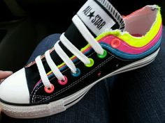 Neon converse with multiple tongues:) Neon Converse, Converse Low Tops, Custom Converse, Converse Sneakers, Converse All Star, Cute Shoes, Me Too Shoes, Zapatillas All Star, Nylons