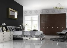 Black and White Bedroom with Brown Shelves