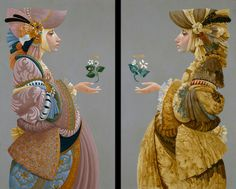 James Christensen ~ Two Sisters~ diptych based on classic theme,rich vs.poor,i.e.Charity vs.Faith/Hope~
