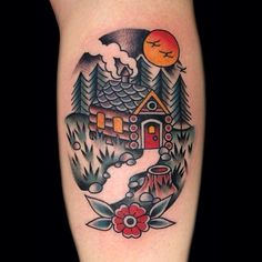 Log Cabin Tattoo by Phil Hatchet Yau Unique Tattoos, Beautiful Tattoos, Cool Tattoos, Time Tattoos, Sleeve Tattoos, Tattoo Ink, Leg Tattoos, Arm Tattoo, Tattoo Drawings