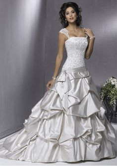A-Line/Princess Strapless Chapel Train Satin Wedding Dresses with Lace Beadwork