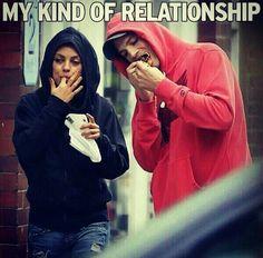 Haha :D relationship . Mila kunis and ashton kutcher