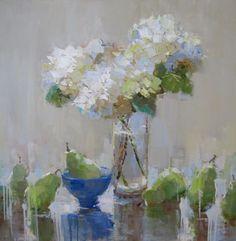 Hydrangeas and Blue Bowl by Barbara Flowers