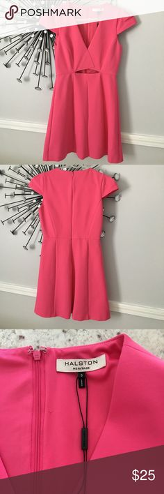 "Halston Heritage hot pink dress size Small This is a super cute dress which is marked size 0, but in my opinion runs a little big. The chest measures 16 1/2""across and the dress is 31 1/2"" long. It is fully lined and the material is a nice thick polyester which hugs your figure. The dress is in very good condition with no pulls, stains or snags. Halston Heritage Dresses Mini"