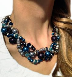 PETITE TWISTED, Statement Necklace, Black, Gray, Silver,  Blue, Teal, Bridesmaid, Chunky, Multi-strand, Bridal, Jewelry by Jessica Theresa. $40.00, via Etsy.