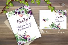gallery photo Be My Bridesmaid Cards, Will You Be My Bridesmaid, Bridesmaids, Floral Wedding, Wedding Cards, Orchids, Tropical, Gallery, Party