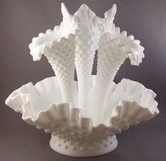 Fenton Hobnail Milk Glass Epergne Bowl with 3 vases!!  Wow!!