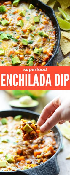 This Superfood Enchilada Dip is the most delicious and filling game day snack. Packed with all of your favorite superfoods including sweet potatoes, avocado, beans and cilantro, this recipe will have your guests munching all game long. Serve with sprouted tortilla chips for a sure-fire crowd pleaser. Plus, it's a one-pan dish and a cinch to make in a cast iron skillet. #healthysnacks #gamedayrecipes #healthygameday