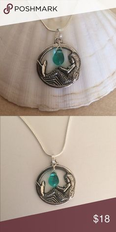 """Mermaid Pendant 🐬 So Cute! Antique Silver Mermaid Charm with Wire wrapped Turquoise Color Glass teardrop. 1 1/4"""". Includes 18"""" Sterling Silver plated snake chain🌟 Jewelry Necklaces"""