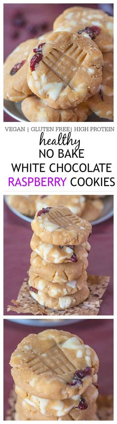 Healthy No Bake White Chocolate Raspberry Protein Cookies- Delicious, easy and ready in 10 minutes, these will be your new favourite snack or healthy dessert! {Vegan, gluten free, dairy free}