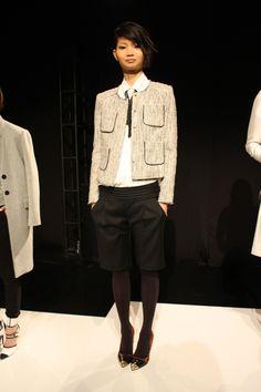 tweed jacket, leather bowtie blouse, & cool tuxedo shorts marissa webb fall 13
