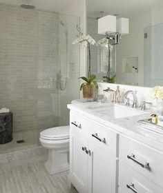 Large shower instead of a tub. Bathroom design.