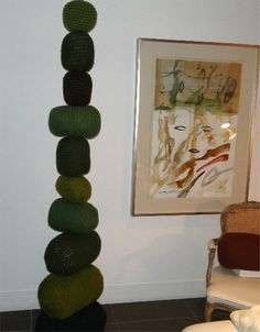 crochet sculpture art ....Rock art for inside the house ....I can see doing this for my cat to climb on