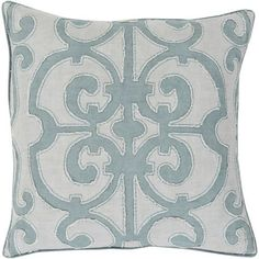 Linden Teal and Light Gray 18-Inch Pillow with Poly Fill