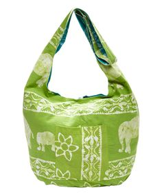 Loving this Art Studio Company Green & Blue Elephant Reversible Batik Sling Tote on #zulily! #zulilyfinds
