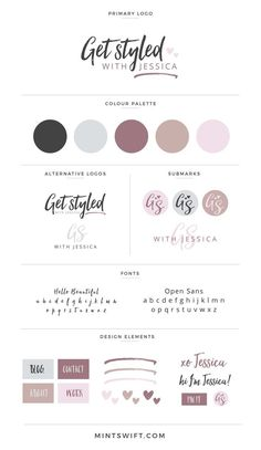 Brand Board for Get Styled with Jessica as part of the brand identity design included in my brand design package View the entire brand design at by Adrianna Leszczynska List Design, Site Web Design, Design Blogs, Business Branding, Branding Kit, Branding Ideas, Denim Branding, Personal Branding, Marca Personal